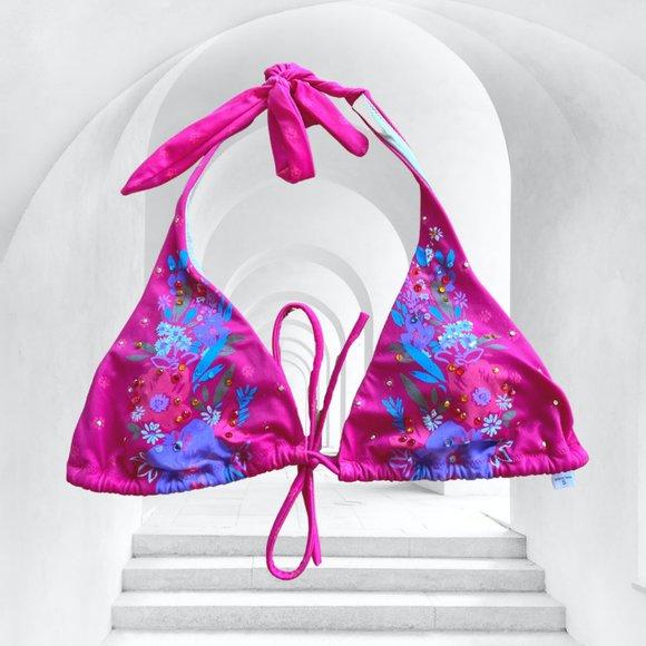Victoria's Secret Floral Rhinestone Triangle Top